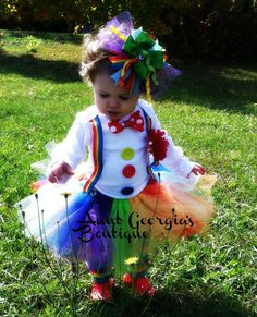Adorable Clown Halloween Costume w/ Matching Hairbow and Leggings on Etsy, $55.00