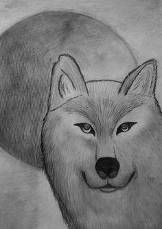 Lobo - Desenho feito em escala de cinza, utilizando lápis 2B,4B e 6B.