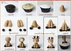 Cupcake recipes 339247784403488060 - Fondant Reindeer Tutorial – Could be made a little larger with polymer clay and used as an ornament with small eye hook on top of head Source by alicevertefeuil Christmas Cake Decorations, Christmas Cupcakes, Diy Christmas, Christmas Recipes, Fondant Christmas Cake, Valentine Cupcakes, Pink Cupcakes, Easy Fondant Decorations, Christmas Cupcake Toppers
