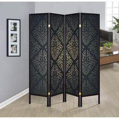 Coaster Company Black and Goldtone Damask Wood Folding 4-panel Screen (Black/Gold)