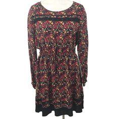 Lauren Conrad Size XL Floral Dress Lace Inserts Long Sleeve Drawstring Waist NWT #LCLaurenConrad #WeartoWork
