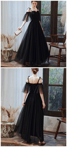 BLACK TULLE LONG PROM DRESS FORMAL DRESS by Ai prom dresses, $123.10 USD Black Prom Dresses, A Line Prom Dresses, Prom Party Dresses, Sexy Dresses, Evening Dresses, Fashion Dresses, Fashion Days, Dress Formal, New Dress