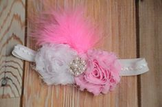 SALE ONLY ONE!! Pink and White Baby Girl Vintage Headband, Newborn Headband, Flower Headband, Photo Prop, Princess Headband. Bridal Headband