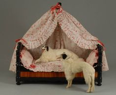 Miniature bed & Borzois from French dollhouse~Image via polichinelle. http://polichinelle.vefblog.net/cat3/