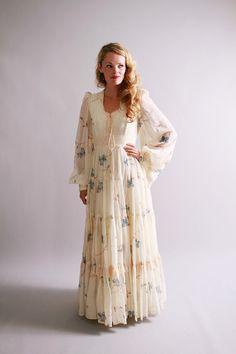cyber monday sale 1970s maxi dress / vintage gunne sax dress / Watercolor Branches. $105.00, via Etsy.