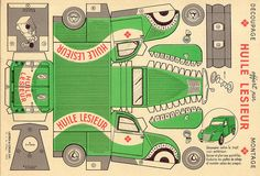 Vintage Truck papercraft, free to print. Paper Model Car, Paper Car, Paper Models, Cardboard Toys, Paper Toys, Vintage Crafts, Vintage Paper, Origami, Paper Houses