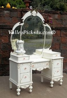 Shabby French White Angel Wing Chic Bedroom Vanity Dressing Table w Tiara Mirror | eBay