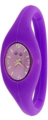 Purple Paw Silicone Band Watch at The Animal Rescue Site - funds 14 bowls of food for animals! *how funky*