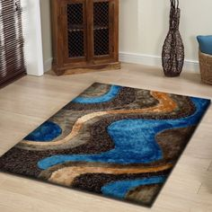 Unique Hand Tufted Brown Mixture Of Gy Blue Area Rug Made 4ft