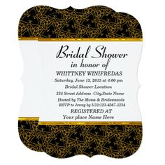 Elegant Gold And Black Bridal Shower Invitation - bridal party gifts wedding ideas diy custom