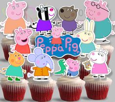 PRINTABLE Peppa Pig Cupcake toppers-2, Instant Download for Peppa Pig Party