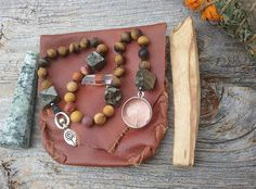Your place to buy and sell all things handmade Goddess Pagan, Mother Goddess, Natural Crystals, Natural Gemstones, Feminine Symbols, Tree Agate, Crystal Meanings, Prayer Beads, Leather Pouch