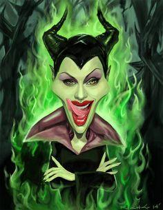 Caricatura de Maléfica (Angelina Jolie)
