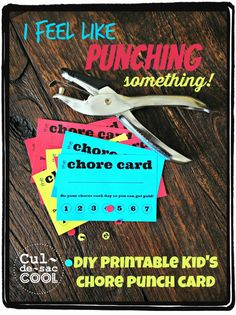 DIY PRINTABLE KID'S CHORE PUNCH CARD!