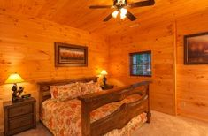 """Terrace Level King Bedroom with Luxury Linens features 29"""" TV Blue Ridge Cabin Rentals, Georgia Cabin Rentals, King Bedroom, Window Wall, Luxury Linens, Lodges, Dining Area, Terrace, Interior"""