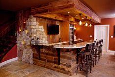 Stone Bar Design Ideas, Pictures, Remodel, and Decor - page 4 Rustic Basement Bar, Basement Bar Designs, Basement Ideas, Basement Decorating, Basement Bars, Decorating Ideas, Basement Inspiration, Basement Ceilings, Basement Laundry