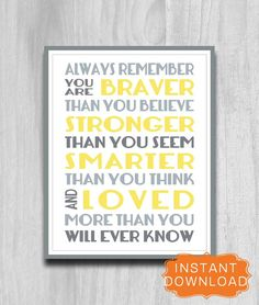 Always Remember You Are Braver Print Printable Art 8x10 Nursery Decor DIY Digital File INSTANT DOWNLOAD Yellow Gray green blue Pottery Barn on Etsy, $5.00