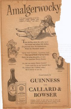 Alice in Guinnessland (from a damaged 1958 newspaper)