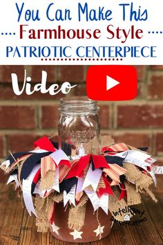 You can make this Farmhouse Style Patriotic Centerpiece. We used a terracotta pot as our vase and a Mason Jar to light the center. Shabby ribbon is the show stopper. Burlap and cotton in red white and blue colors create a festive 4th of July feel for this Patriotic table centerpiece. See the video tutorial. #redwhiteandblue #tabletopdecor #tablecenterpiece #farmhousecenterpiece #4thofjuly #bowdabra #terracottapotdecor Diy House Projects, Cool Diy Projects, Decor Crafts, Diy Home Decor, Blue Crafts, Foyer Decorating, Blue Colors, Patriotic Decorations, Dollar Store Crafts