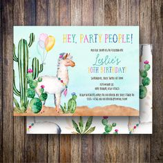 Watercolor Llama Birthday Party Invitation, Fiesta Birthday Party Invite, Watercolor Cactus, Desert Party, Printable Watercolor Llama Birthday Invite in Green, Teal, Magenta - Spotted Gum Design - Etsy