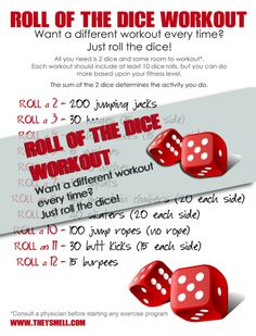 Roll of the Dice Workout, get a different set of exercises each time you workout - FREE Printable Crafts To Do When Your Bored, Fun Crafts To Do, Diy Crafts, Fitness Motivation Quotes, Fitness Tips, Fitness Fun, All You Need Is, Fun Workouts, At Home Workouts