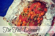 Hamburger, chicken, veggies tin foil meals