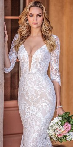 casablanca spring 2018 three quarter sleeves deep plunging sweetheart neckline full embellishment elegant fit and flare wedding dress low open scoop back medium train (ainsley) zv -- The Spring 2018 Casablanca Bridal Collection is All Kinds of Gorgeous