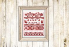 Cross stitch pattern 2015 Christmas Sampler PDF Cross stitch chart scheme counted chart instant download