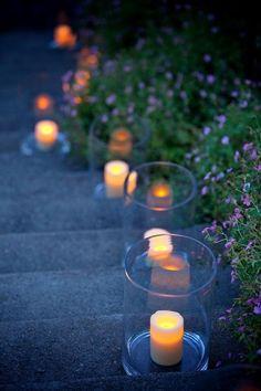 Lanterns light the stairs....