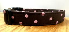 Perfectly Preppy Pink Polka Dots on a Brown Dog Collar