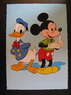 Vintage Old Walt Disney Postcard Donald Duck and Mickey Mouse...years 60