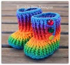 Crochet Baby Booties Rainbow 6-12 months, crochet booties, merino wool, handmade in Baby, Clothes, Shoes & Accessories, Shoes | eBay