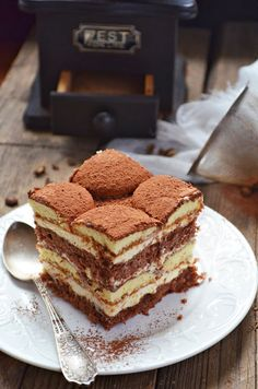 Tiramisu on We Heart It Polish Desserts, Just Desserts, Delicious Desserts, Yummy Food, Polish Recipes, Sweet Recipes, Cake Recipes, Dessert Recipes, Chocolate