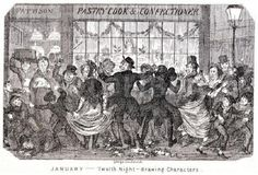 Victorian illustration from George Cruikshank's comic Almanac depicting the excitement outside the Pastry Cook and Confectioner's shop window as people view the Twelfth night cakes. The youths of the day have mischievously tied the ladies dress to the gentleman's coat-tails.