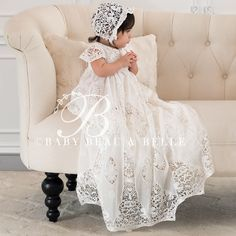 Beautiful Christening Gowns for Girls, Lace Baptism Gowns & Bonnets Baptism Outfit, Christening Outfit, Baptism Dress, Baptism Clothes, Baby Christening, Christening Gowns For Girls, Baby Girl Baptism, Blessing Dress, My Bebe