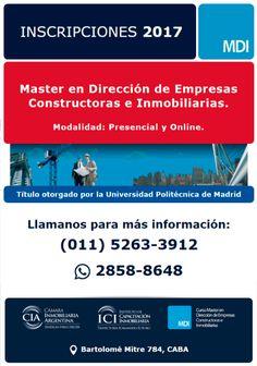 MASTER EN DIRECCIÓN DE EMPRESAS CONSTRUCTORAS E INMOBILIARIAS  La Cámara Inmobiliaria Argentina a través de su Instituto de Capacitación abre la inscripción al Master hasta el día 20 de abril de 2017.  Más info: http://ly.cpau.org/2n4F8sD  #AgendaCPAU #RecomendadoARQ