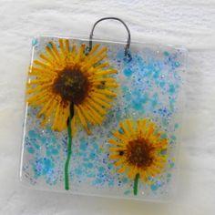 Sunflowers - fused glass art hanger