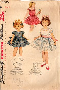 1950s Simplicity 4585 Vintage Sewing Pattern Toddler's Party Dress Sundress Size 2
