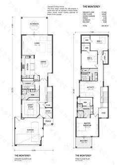 The Monterey - Artique Homes Duplex Floor Plans, Home Design Floor Plans, House Floor Plans, Duplex Design, Townhouse Designs, Courtyard House, Hillside House, Narrow Lot House Plans, Villa Plan
