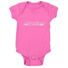 Adorablicious (Adorable) Baby Bodysuit  http://www.cafepress.com/cheylines/13677505