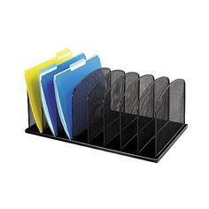 Safco Eight Section Steel Mesh Desk Organizer ($42) ❤ liked on Polyvore featuring home, home decor, office accessories, black, vertical file folders, vertical desktop file organizer, black file folders, file folder and desk file organizer