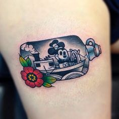 Steamboat Willie trapped in a bottle. By Gooney Toons #InkedMagazine #cartoon #classic #tattoo #Disney