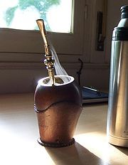 Yerba mate - Traditional gourd shaped mate cup and stainless steel straw.
