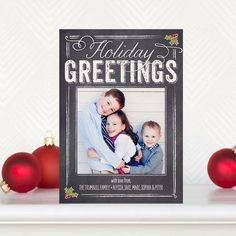 Holly Blackboard - Flat #Holiday Photo Cards in a blackboard design in Charcoal Gray