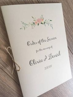 Order of Service / Order of the day Booklets for Church Mass Wedding Programme. Boho floral Order of Service booklet with floral motif Size (Folded : Measurements - x / x These booklets can also be used as Menus. each (Priced in GBP) Price Wedding Ceremony Booklet, Wedding Church Programs, Wedding Hymns, Order Of Wedding Ceremony, Church Ceremony, Ceremony Programs, Wedding Band, Rustic Wedding, Wedding Gifts