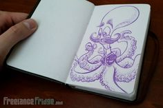 Fun Cartoon Octopus with mustache and holding vintage pocket watch with tentacles