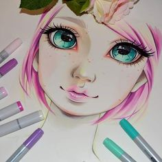 Phew, after days and hours I have almost finished the first portrait tutorial! It will be up in my Etsy store later this week. I'll explain in some easy steps how to draw this lovley pink haired lady - and more! <3  #cute #kawaii #tutorial #sweet #adorable #pink #pinkhaired #eyes #lips #copic #copicmarker #marker #anime #manga #ortrait #selfie #lighane #lighanesartblog