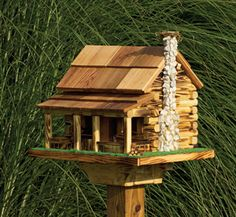 Image detail for -Amish Country Handmade - Very Popular! Amish Country Rustic Handmade Log Cabin Bird Feeder With Rock Chimney, base wide x deep x to top of .