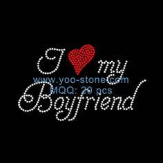 For My Boyfriend Iron On Rhinestone Transfer Love Heart Design