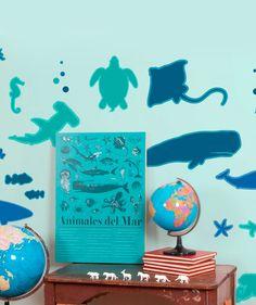 Animalitos acu ticos de vinilo para decorar en el ba o for Decorar paredes vinilos adhesivos